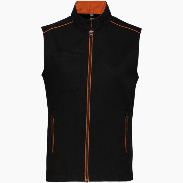 Gilet broderie noir orange