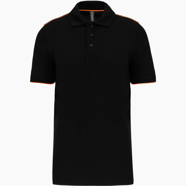 Polo broderie noir orange