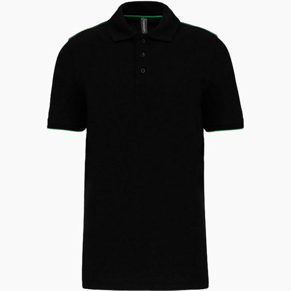 Polo personnalise noir vert