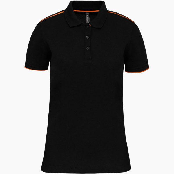 Polo femme noir orange