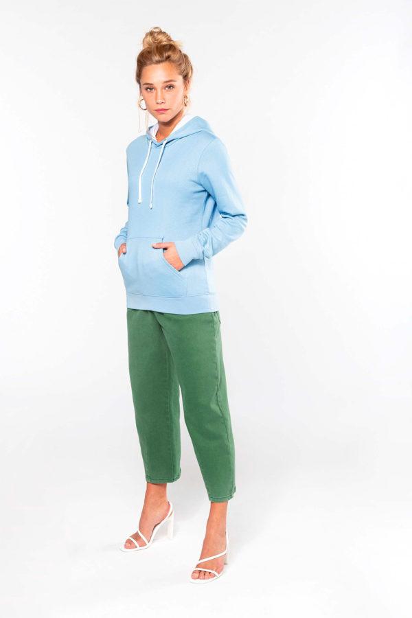 Sweat-shirt capuche contrastée femme | Broderie - Marquage textile
