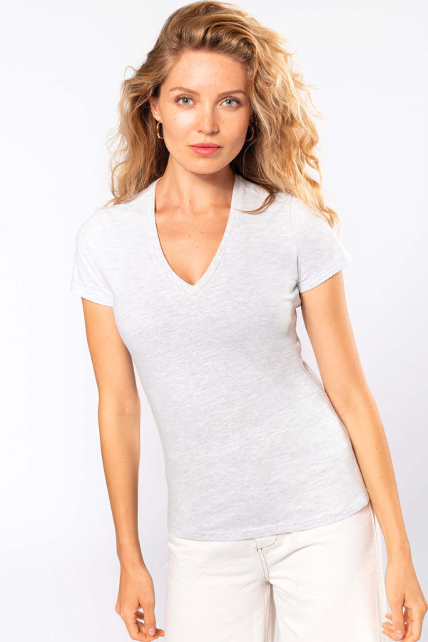 T-Shirt femme col V - Broderie - Marquage textile